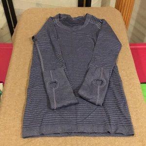 Blue stripped Lululemon run swiftly shirt size 4